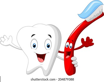 Dental Tooth and Toothbrush cartoon character