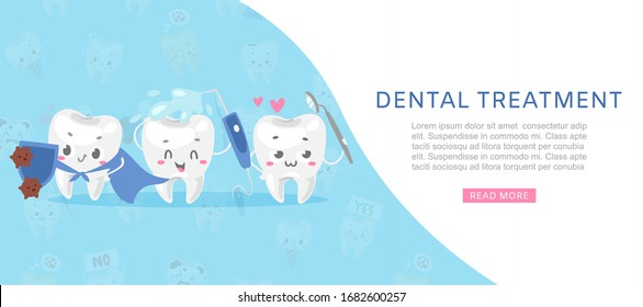 Dental tratment cute healthy white teeth with dental health care tools against microbes cartoon vector illustration for children dentist cabinet. Dental care banner for kids, funny dentistry.