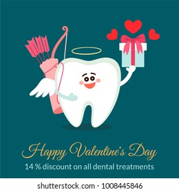 Dental valentine card. Cartoon tooth Cupid with bow, arrows and gift. Discount concept. Happy Valentine's Day! Greeting from dentistry.
