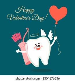 Dental valentine card. Cartoon tooth Cupid with bow, arrows and balloon heart. Happy Valentine's Day! Greeting from dentistry.