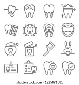 Dental Vector Line Icon Set. Contains such Icons as Teeth, Clean, Medicine, Floss, Report, Bleach and more. Expanded Stroke