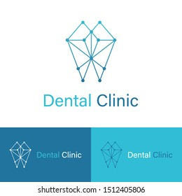 Dental Vector Logo Design. Dentist Logo Template. Geometric Diamond Gems Dentistry icon. Tooth symbol