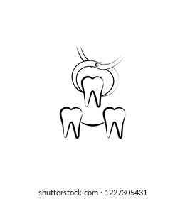 dental veneers, dental treatment icon. Element of dantist for mobile concept and web apps illustration. Hand drawn icon for website design and development, app development
