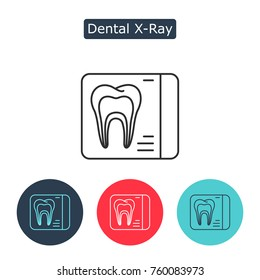 Dental x-ray vector line icon isolated on white background. Radiology image. Professional care of teeth concept, stomatology pictogram. Medicine symbol for info graphics, websites. Editable stroke.