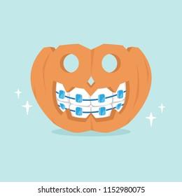The dentist braces pumpkin with halloween concept, vector illustration.