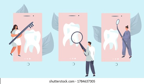 Dentist Care of Big Tooth with Toothbrush.Dental Clinic Concept.Dentist Standing around Huge Tooth and Treat it. Stomatology and Orthodontics Medical Center Dental Care.Flat Vector Illustration