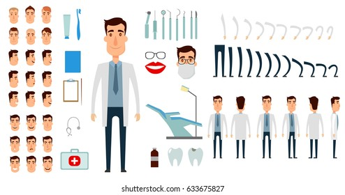 Dentist character creation set. Icons with different types of faces, emotions, clothes. Front, side, back view of male person. Moving arms, legs. Flat and cartoon style. Vector illustration.