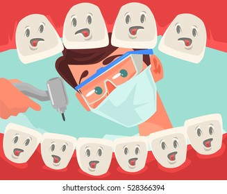 Dentist character looking into open mouth of patient. Vector flat cartoon illustration