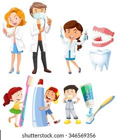 Dentist and children brushing teeth illustration