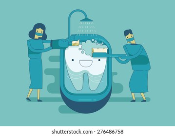 Dentist are cleaning the tooth ,dental concept