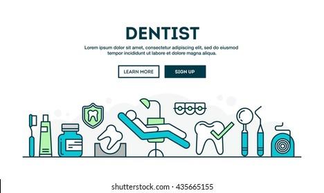 Dentist, colorful concept header, flat design thin line style, vector illustration