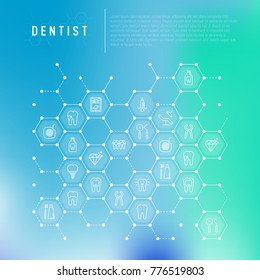 Dentist concept in honeycombs with thin line icons of tooth, implant, dental floss, crown, toothpaste, medical equipment. Modern vector illustration for banner, web page, print media.