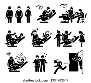 Dentist and dental clinic with people funny reactions. Artwork depicts doctor and nurse checking man and children teeth. Reactions include happy, scared, crying, angry, and running away from dentist.