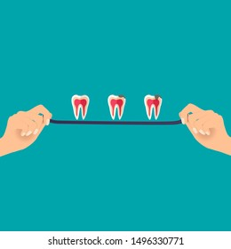 Dentist hands with tooth. Dental concept. Dentist background. Vector illustration.