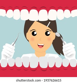 Dentist holding instruments and examining patient teeth. Patient mouth inside view. Teeth examination dentistry concept.