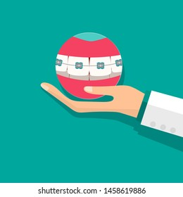 Dentist holds teeth with braces. Dental concept. Dentist background. Vector illustration.