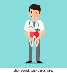 Dentist holds tooth. Dental concept. Dentist background. Vector illustration.