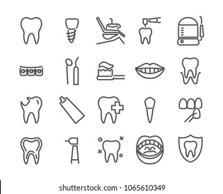 Dentist icon set made in line style. Includes such icons as healthy tooth, dental implant, oral irrigator, smile, veneer, oral cavity and more, 48X48 pixel perfect editable stock vector illustration.