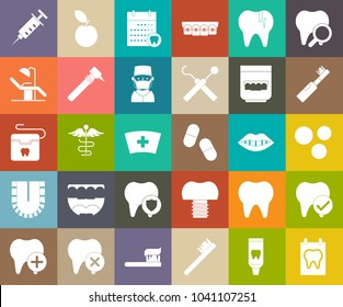 Dentist icons, medical symbols, vector doctor icons, teeth or tooth care