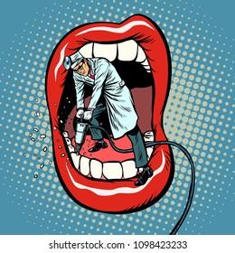 dentist jackhammer drilling teeth. Pop art retro vector illustration kitsch vintage