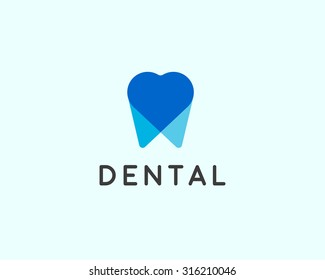 Dentist logo design template. Tooth creative symbol. Dental clinic vector sign heart overlap mark icon.