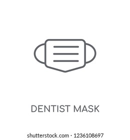 Dentist mask linear icon. Modern outline Dentist mask logo concept on white background from Dentist collection. Suitable for use on web apps, mobile apps and print media.