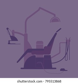 The dentist office color detailed banner in flat style for web and mobile design illustration