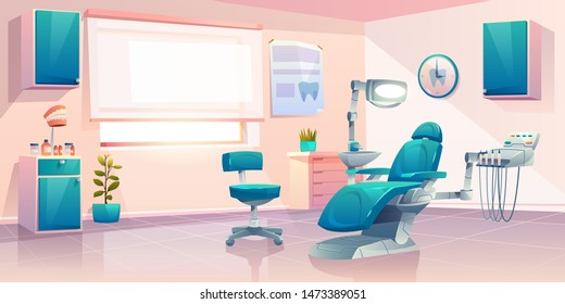Dentist office, stomatology service or clinic cabinet, orthodontist practice workplace interior with modern chair equipped integrated dental engine and surgical light unit cartoon vector illustration
