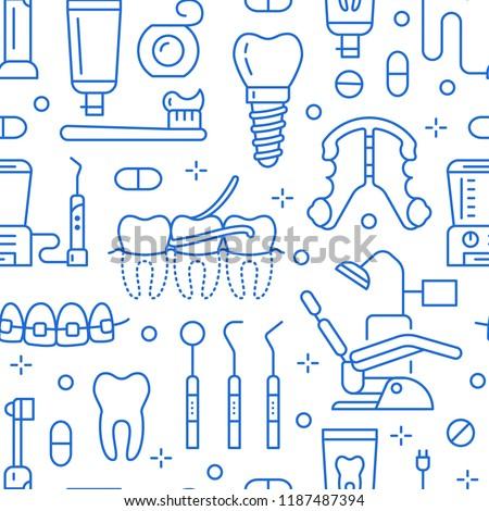 427cec5e6 Vetor stock de Dentist Orthodontics Blue Seamless Pattern Line ...