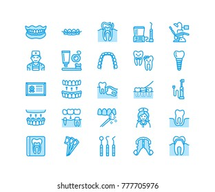 Dentist, orthodontics line icons. Dental equipment, braces, tooth prosthesis, veneers, floss, caries treatment medical elements. Health care thin linear signs for dentistry clinic Pixel perfect 64x64.