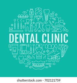 Dentist, orthodontics medical banner with vector line icon of dental care equipment, braces, tooth prosthesis, veneers, floss, caries treatment. Healthcare thin linear poster for dentistry clinic.