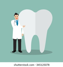 Dentist presenting the tooth. vector illustration