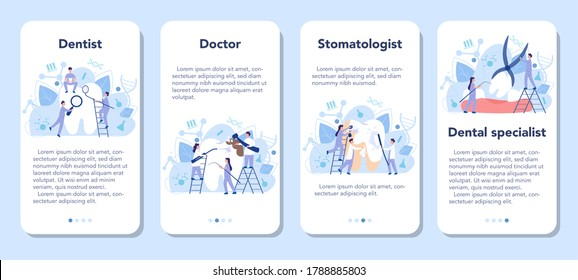 Dentist profession mobile application banner set. Dentists in uniform treat tooth using medical equipment. Idea of dental and oral care. Caries treatment. Flat vector illustration