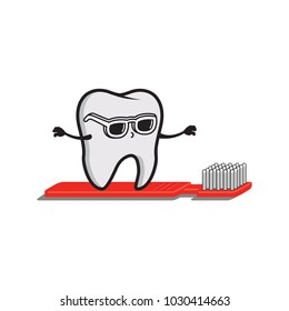 Dentist. Surfing Tooth. tooth brush surf board. illustration. vector.