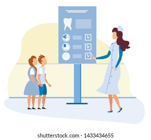 Dentist Teaching Children to Take Care of and Clean Teeth. Stomatologist Showing Kids Useful Information on Dashboard. Vector Medicine and Dental Health Care Isolated Illustration. Flat Cartoon