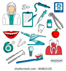 Dentist with tools and equipment as chair and pills, syringe, cross section and x-ray of cracked or carious teeth, toothbrush and floss, implant and braces, dental checkup list and apple
