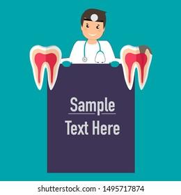 Dentist with tooth. Dental concept. Dentist background. Vector illustration.