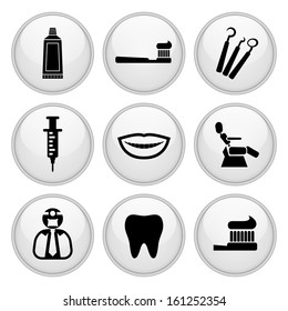 Dentist and Toothcare Icons Glossy White Button Icon Set