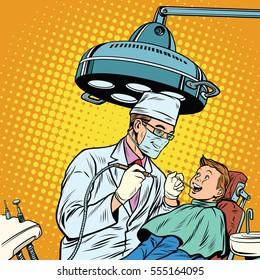 Dentist treats teeth boy. Pop art retro vector illustration. Medicine and health care. happy patient