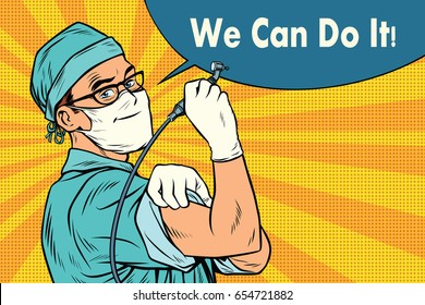 Dentist we can do it. Medicine and health care. Pop art retro vector illustration