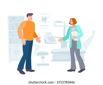Dentist welcomes young man patient into the dental clinic. Hand drawn vector cartoon characters. Healthcare and protection teeth concept in trendy flat style.