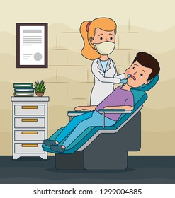 dentist woman and patient diagnosis treatment