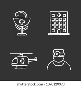 Dentistry chalk icons set. Hospital, doctor, medical helicopter, bowl of Hygeia. Isolated vector chalkboard illustrations