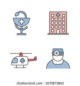 Dentistry color icons set. Hospital, doctor, medical helicopter, bowl of Hygeia. Isolated vector illustrations