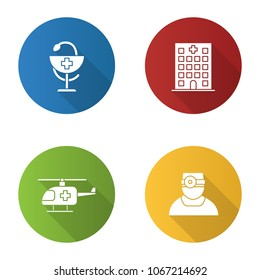 Dentistry flat design long shadow glyph icons set. Hospital, doctor, medical helicopter, bowl of Hygeia. Vector silhouette illustration