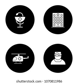 Dentistry glyph icons set. Hospital, doctor, medical helicopter, bowl of Hygeia. Vector white silhouettes illustrations in black circles