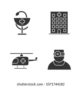 Dentistry glyph icons set. Hospital, doctor, medical helicopter, bowl of Hygeia. Silhouette symbols. Vector isolated illustration