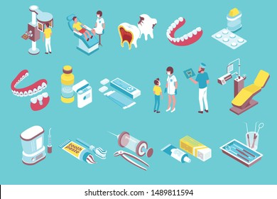 Dentistry isometric elements collection with dentist tools chair patients decayed teeth removable prothesis bridge pills vector illustration