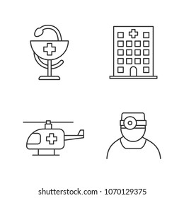 Dentistry linear icons set. Hospital, doctor, medical helicopter, bowl of Hygeia. Thin line contour symbols. Isolated vector outline illustrations