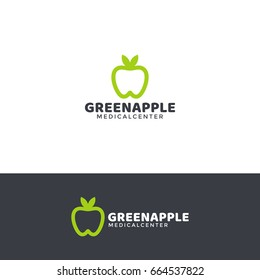 Dentistry logo template with green apple and healthy white tooth. Horizontal and vertical versions.